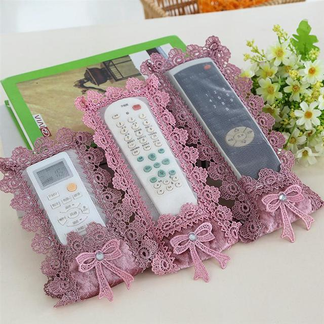 Cover for Remote Control Fabric Lace Bag Container Holder for Air Conditioning Remote Control Protector Cover