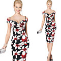 Women Dress Summer Elegant Floral Print Work Business Casual Party Vestidos Free Shipping Be0102-3