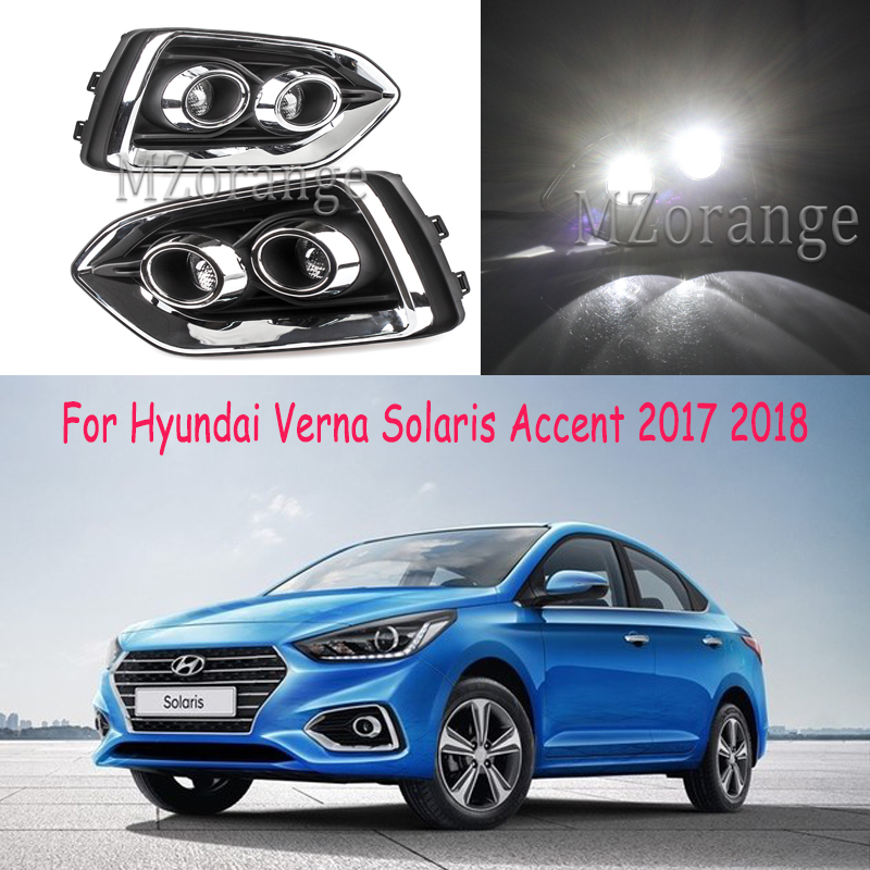 <font><b>headlights</b></font> For <font><b>Hyundai</b></font> Verna Solaris <font><b>Accent</b></font> 2017 2018 2019 Car Lights 2pcs <font><b>LED</b></font> Daytime Running Lights DRL Fog Lamps fog lights image