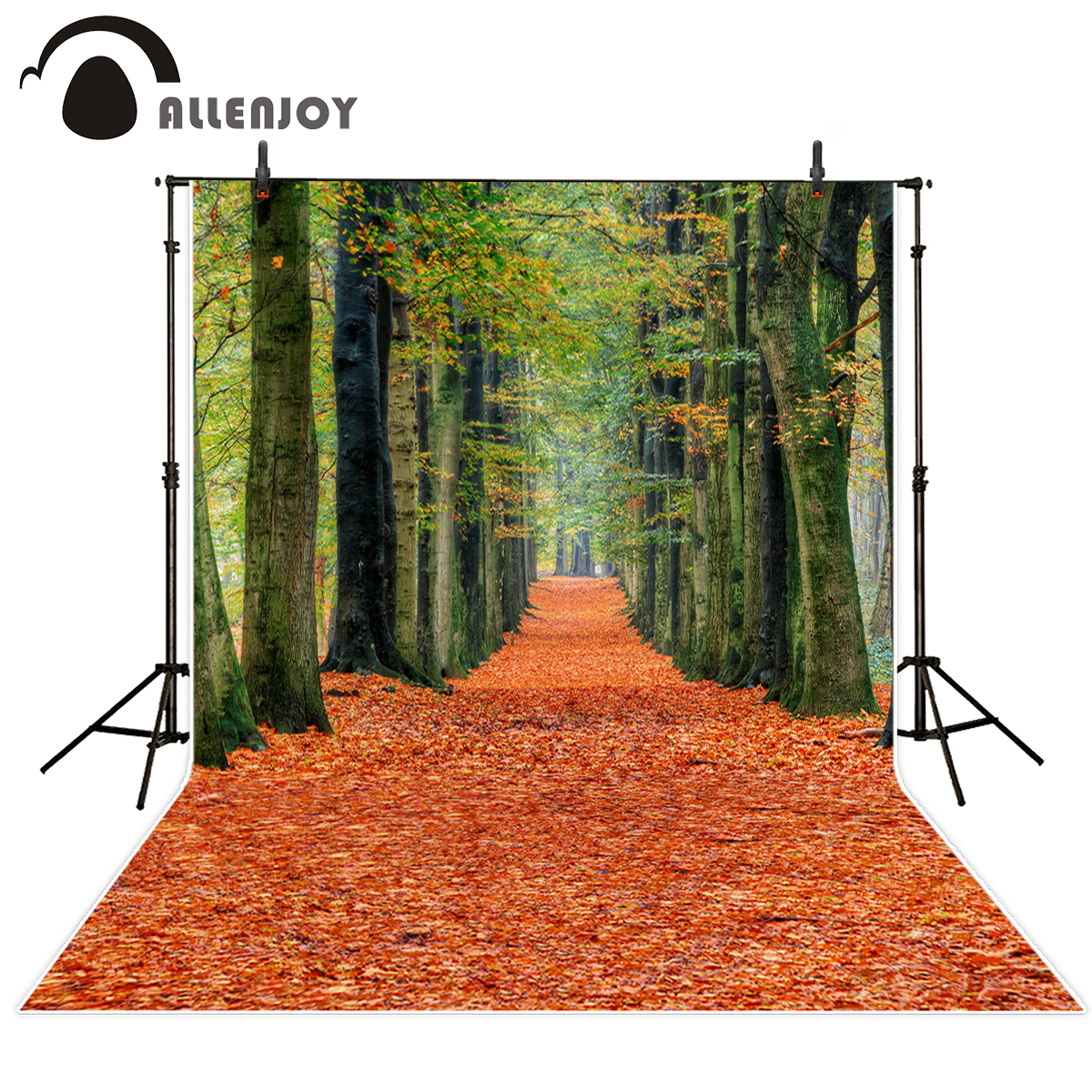 Allenjoy photography background autumn forest path tree leaves backdrop photocall newborn photobooth customize 600cm 300cm background maple leaves everywhere photography backdropsthick cloth photography backdrop 3223 lk