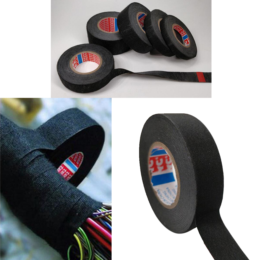 1pc Heat-resistant Wiring Harness Tape Looms Wiring Harness Cloth Fabric Tape Adhesive Cable Protection 19mm X 15M