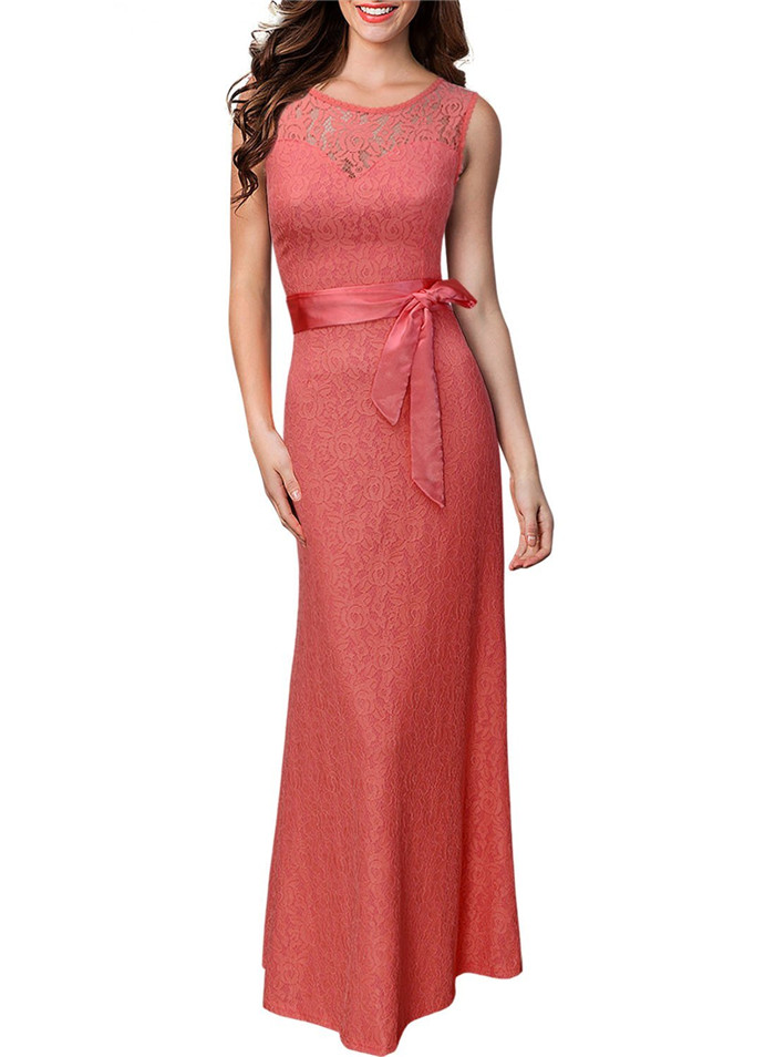 31e746955ee0c New Brand Summer Lace Pinup Mermaid Maxi Dress Women Sexy Slim Belted  Backless Sleeveless Long Party Dresses Big Size Vestidos-in Dresses from  Women's ...