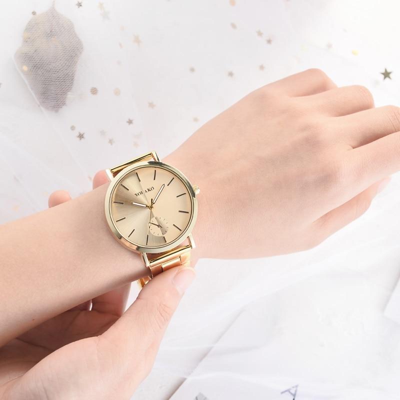 Luxury Women Watch Rose Gold Quartz Fashion Stainless Strap Analog Wrist Watches Female Clock Gift Montre Femme Bayan Kol Saati in Quartz Watches from Watches