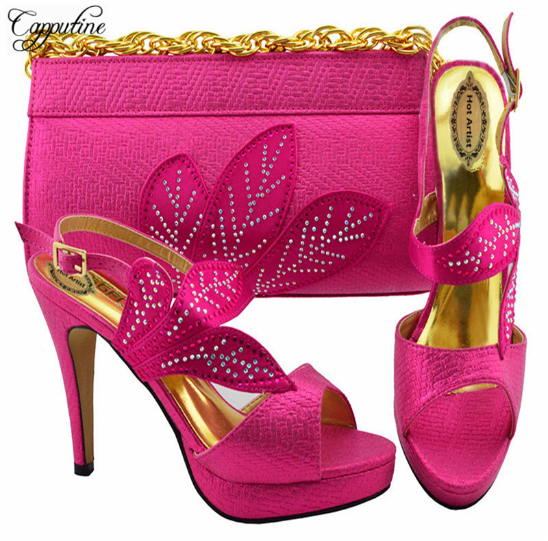 Capputine Hot Sale Italian Shoes And Bags Set African Style PU Leather And Rhinestone Party Shoes And Bag Set For Wedding YK1068 capputine european style elegant rhinestone shoes and bags set african style woman high heels shoes and bags for wedding party