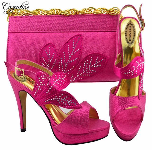 Capputine Hot Sale Italian Shoes And Bags Set African Style PU Leather And Rhinestone  Party Shoes And Bag Set For Wedding YK1068 6b09c1a9d665