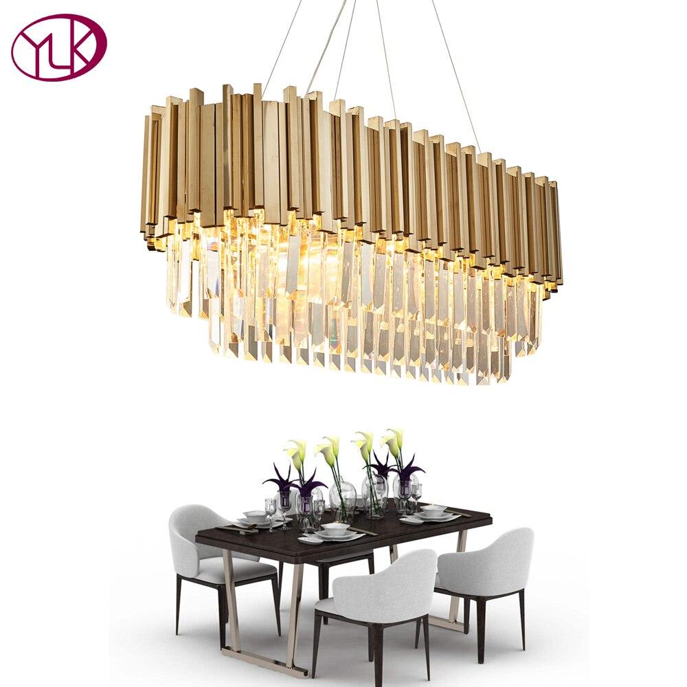Youlaike De Luxe Moderne Lustre En Cristal Pour Salle À Manger Rectangle De Luxe Salon Suspendus Or LED Lampes En Cristal