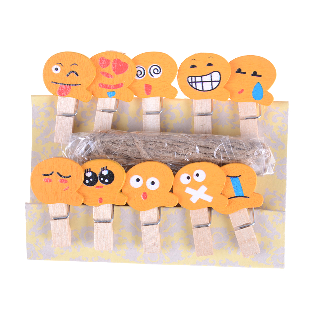 Office Binding Supplies 10pcs/set Emoji Emotion Wooden Clip Office Accessories Clip Paper Binder Stationery Accessoires Desk School Clip