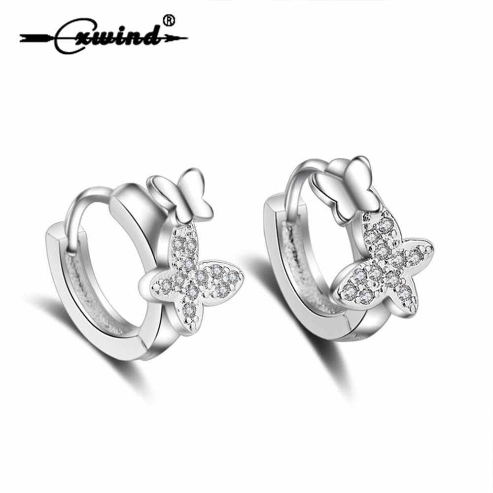 Cxwind Fashion Mewah Crystal CZ Butterfly Stud Anting-Anting Simpul Bee Hewan Anting-Anting untuk Wanita Wanita Perhiasan Grosir Hadiah Oorbellen
