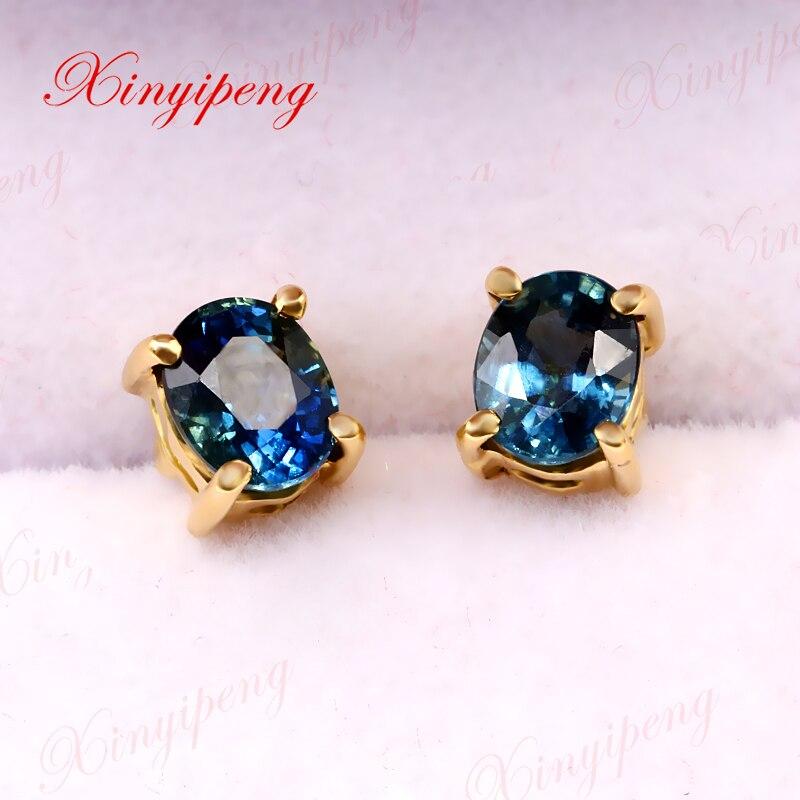 цена на Xinyipeng18K yellow gold inlaid natural sapphire studs style beautiful women model
