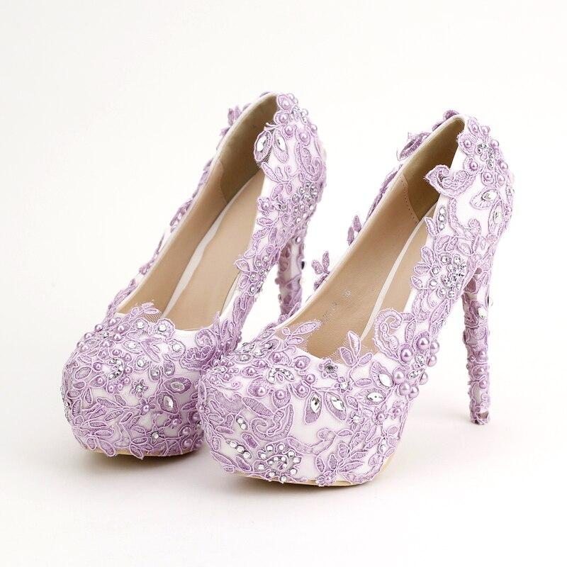 2017 lila novia zapatos de tacones altos 14 cm a prueba de agua