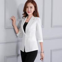 Women Blazer Work Spring Summer Three Quarter Sleeve Linen Cotton Suit Jacket One Button OL Style Office Lady Blazers Ma119
