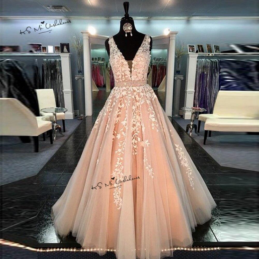Vintage Wedding Dresses Michigan: Vintage Pink Lace Prom Dresses 2019 Long Elegant Evening