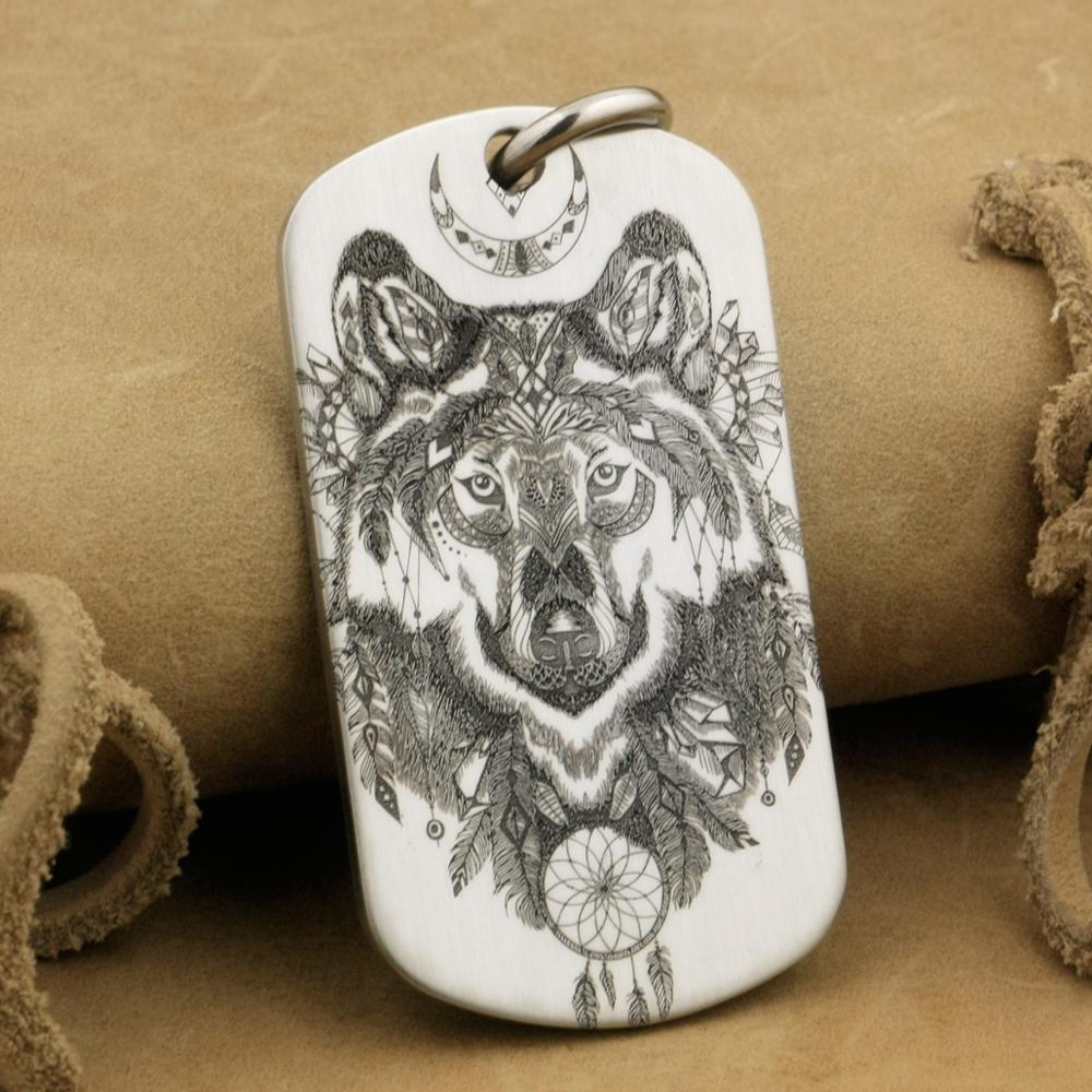 316L Stainless Steel High Detail Engraved Indian Wolf Dotag Mens Biker Rocker Punk Pendant 9X111 JP