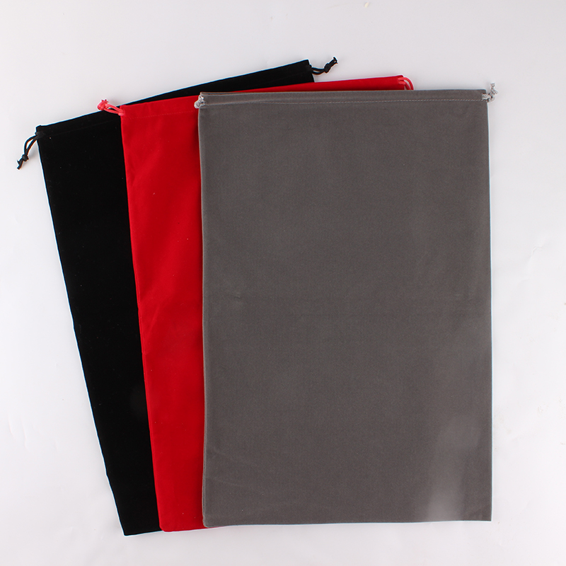 30*45cm Packaging Bag Large Cloth Food Bag Custom Logo Print Velvet Drawstring Bag