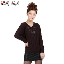 New Fashion Women Pullover Sweater Lady Sexy V-neck Beading Cashmere Sweater Women Wool Knitted Female Pullover Tops-DL1263