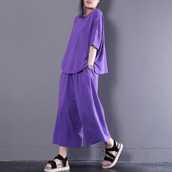 [EWQ] 2020 été nouveau modèle bureau dame Style ample grande taille col rond couleur unie jambe Large pantalon Coton tissu SuitAF662