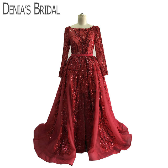 1c572fc58380 2019 Ball Gown Wine Red Bateau Neckline Split Evening Gowns With Long  Sleeves