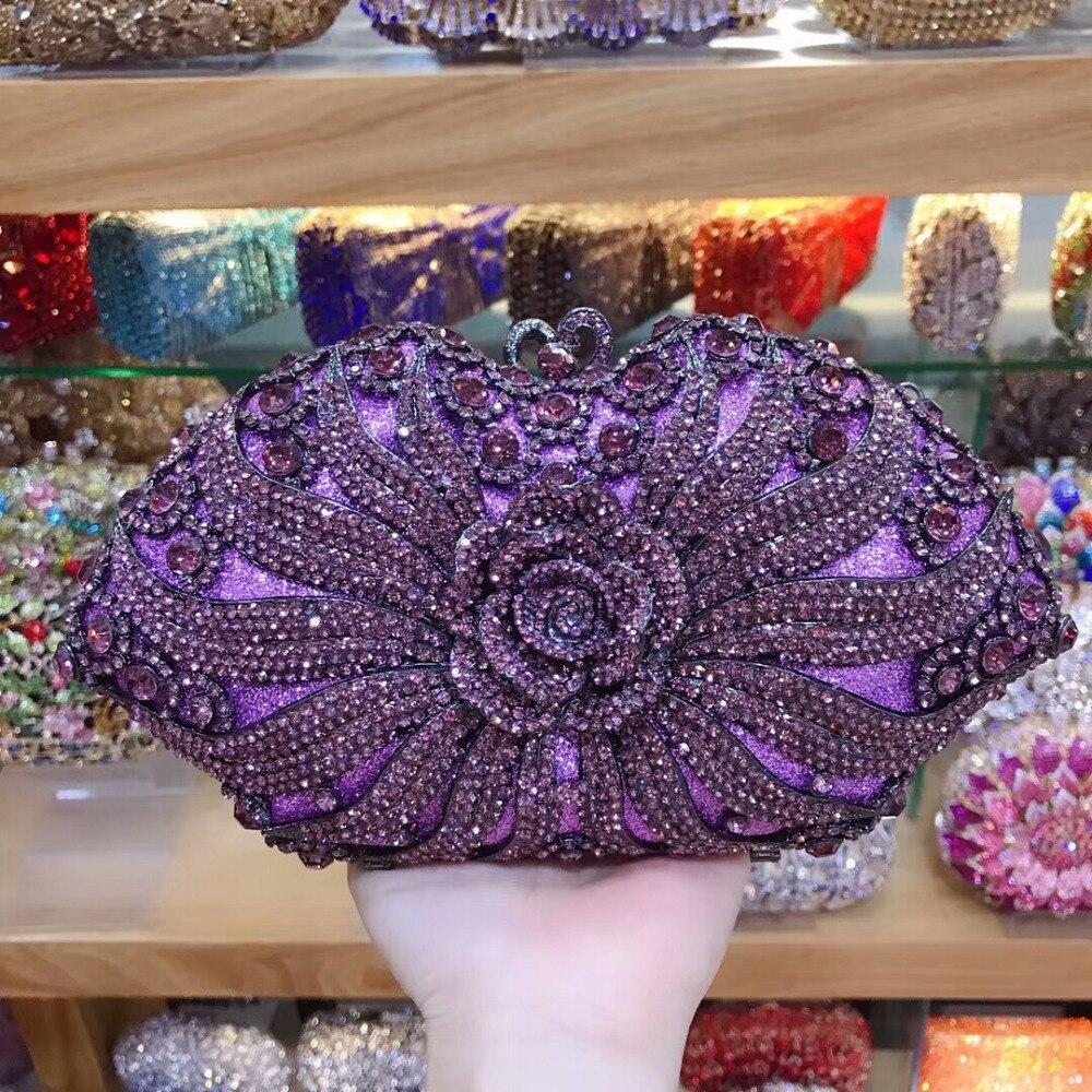 XIYUAN Lady Gold/silver/purple Crystal Diamond Evening Bags Clutch Hard Case Metal Wedding Cocktail Handbag Bridal Diamond Purse
