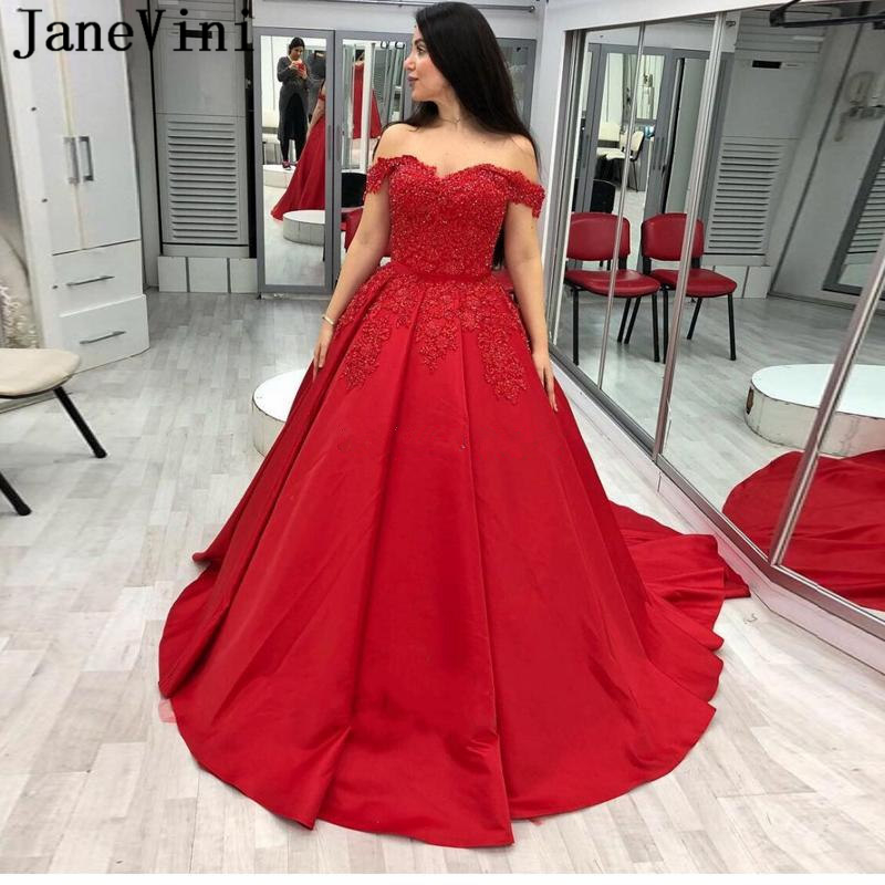 JaneVini Charming Princess Ball Gown Red   Prom     Dresses   2019 Off Shoulder Appliques Beaded Lace-up Back Satin Plus Size   Prom   Gowns
