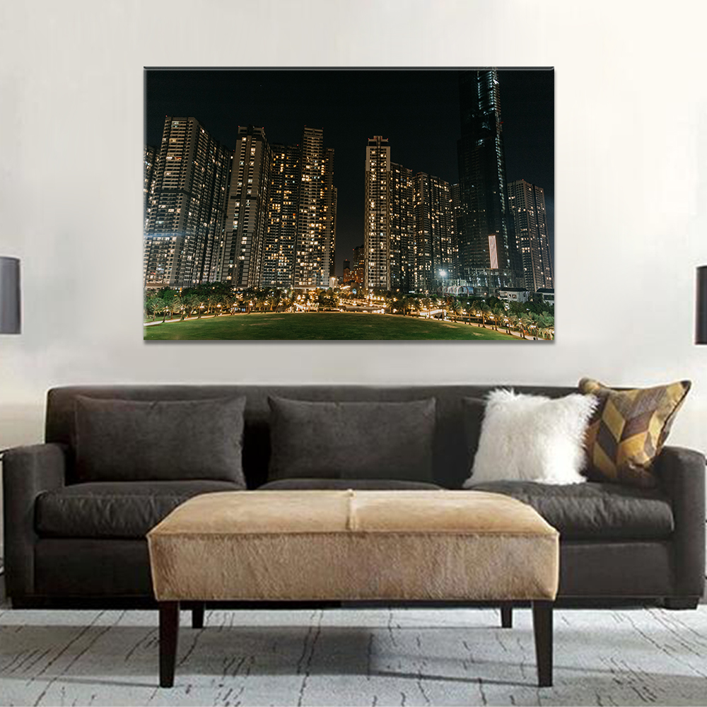 Unframed HD Canvas Print Painting Architecture Landscape Night Light Building Posters Wall Picture For Living Room Home Decor