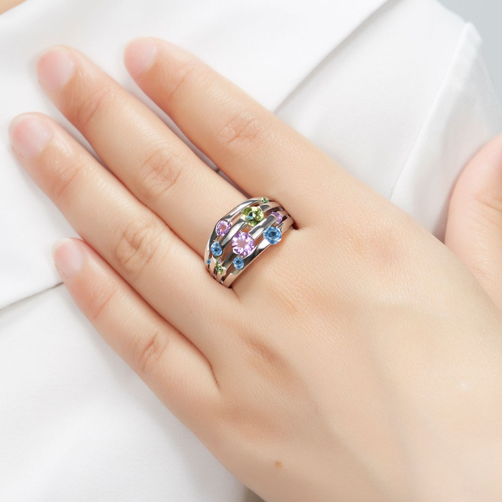 Hutang Natural Amethyst Wedding Women 39 s Ring Peridot Blue Topaz 925 Sterling Silver Gemstone Rings Fine Elegant Jewelry for Gift in Rings from Jewelry amp Accessories