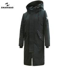 SHANBAO marca anti-frío gruesa caliente abajo chaqueta 2018 nuevo invierno delgado de la manera con capucha parka larga ocasional negro Azul caqui