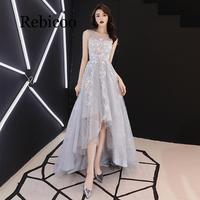 Rebicoo 2019 gray stars print high and low style sexy illusion O neck sleeveless front short long zip dress