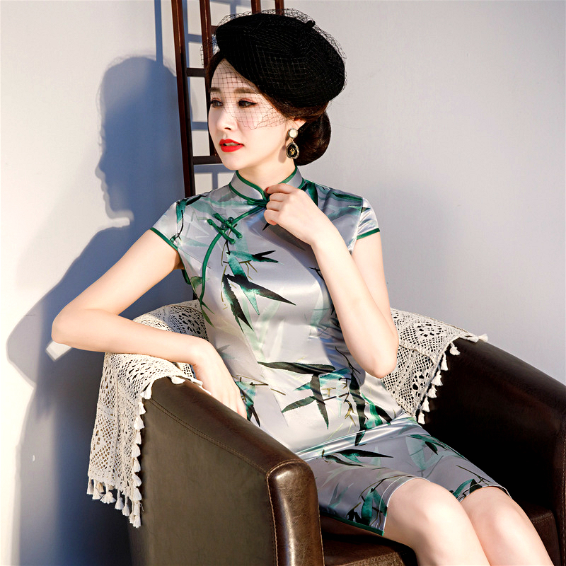 Sheng Coco Knee-length Cheongsam Dresses Medium-long Chinese Traditional Dress Qipao For Women/'s Leaves Orientale Style Big Size