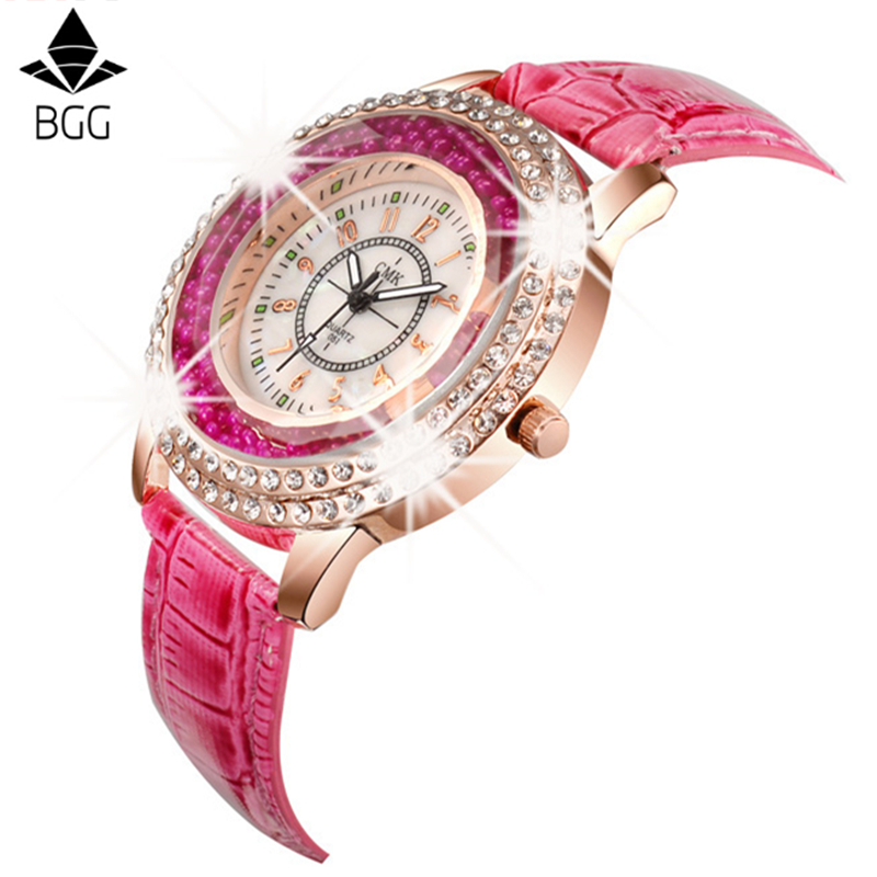 New Fashion Ladies Watch Crystal Rhinestone PU Leather Watches quicksand Women Dress Quartz Wristwatch clock Hours Reloj Mujer comtex ladies watch spring casual yellow leather women wristwatch for girl new fashion quartz calendar watches reloj clock gift