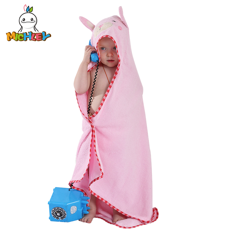 MICHLEY Animal Model Cloak 100% Cotton Baby Bathrobe/Cartoon Baby Towel/Character Kids Bath Robe/ Bath Towel/Hooded Qwa-xin