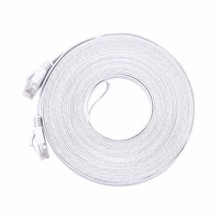 30M Pure Copper Wire CAT6 Flat UTP Ethernet Network Cable RJ45 Patch LAN Cable Black White