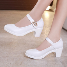 Plus Size 32-43 Block Heels Platform Shoes Women Pumps 2019 Black White  Heels Mary a82eabb7d5db