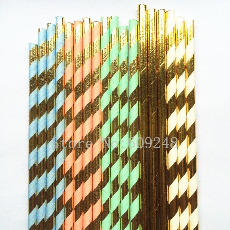 Free DHL 2500pcs Choose Colors Paper Straws Bulk Metallic Gold Foil Striped Paper Drinking Straws Mint