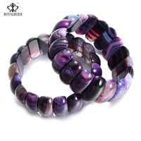 RoyalBeier New Fashion Genuine Natural Stone China Width Colorful Square Ripple Beads Cuff Bracelet Mysterious Bracelet Bangle
