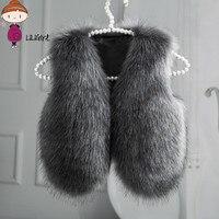 2017 High Quality Vest For Girls Waistcoat Fur Vest Girls Imitation Fur Coat Kids Faux Fur