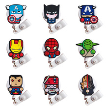 2019 New Cute Hero Nurse Cartoon Pvc Id Card Holder Retractable Id Badge Holder Mini Badge Reel  Badge Clip Retractable for Work