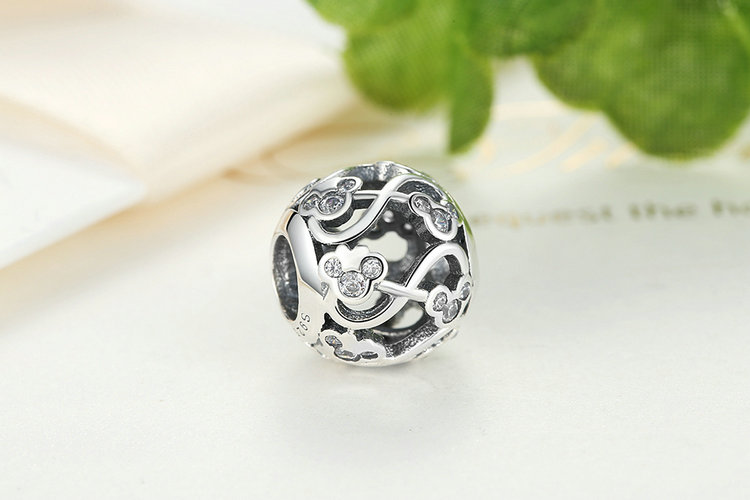 925 Sterling Silver Minnie & Mickey Infinity Beads