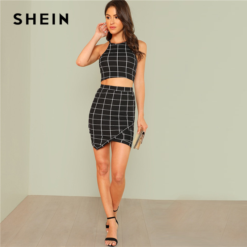 deb19463ec SHEIN Elegant Black and White Office Lady Workwear Women Two Piece Set  Outfits Plaid Grid Crop Halter Top Wrap Skirt Set-in Women's Sets from  Women's ...
