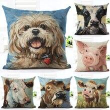 2016 Hot Selling Cute Animal Home Decorative Sofa Cushion Throw Pillow Case Cotton Linen Square Pillows