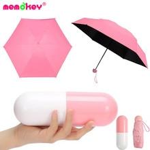 Memokey Mini Capsule Women Umbrella Clear Pocket Anti-UV Umbrella Windproof Folding Umbrellas Compact Rain Children Umbrellas F