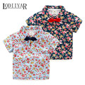 Casual Bow Tie Flower Printed Short Sleeve T-shirt, Baby Boys Girls Clothing Korean Floral Top Tees, Summer Fashion Kids Shirts