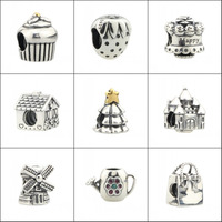 925 Sterling Silver Strawberry Cup Cakes Christmas Tree Windmill House Water Can Bag Charm Bead Fit