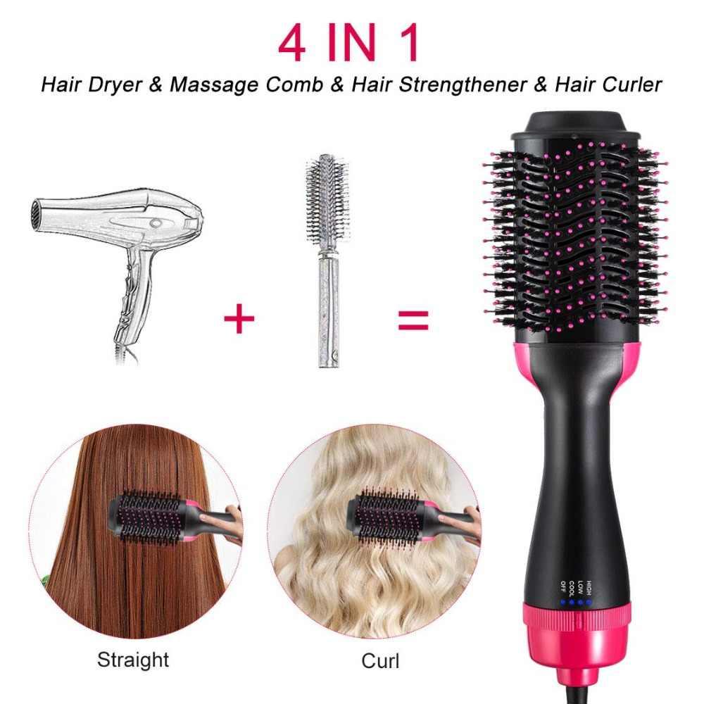 التدفئة الكهربائية مشط 2 في 1 خطوة واحدة الشعر فرشة مجفف Volumizer الأيونية ضربة فرشة مجفف الشعر مكواة فرد وتمويج التصميم أدوات