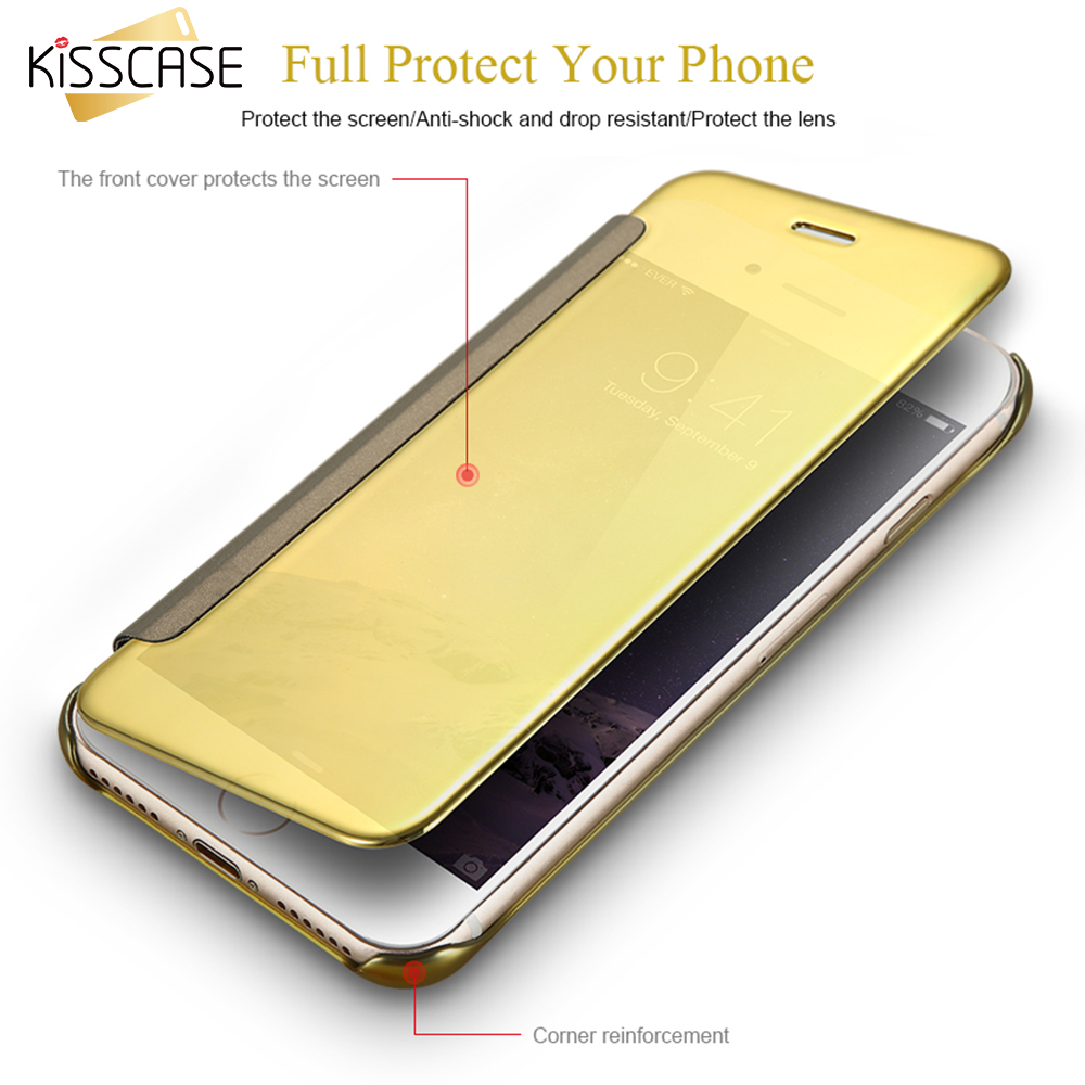KISSCASE Case For iPhone 7 6 6S Hard Plastic Clear Window Mirror Screen PU Leather Cover For iPhone 7 Plus 6 6S Plus Flip Cases
