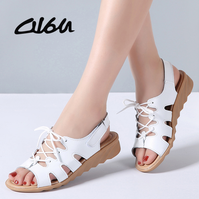 O16U Women Gladiator Sandals Shoes Genuine Leather Lace Up Flat Heels Sandals  Ladies Casual Summer Shoes aacc4dd46021