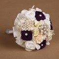 Европейский Фиолетовый Роскошные Перла Rhinestone Люкс Свадебные Букеты Рамо Novia Mariage Невесты Искусственный Цветок Аксессуары