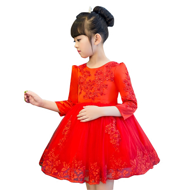 2017 Korean Sweet  Girls Embroidery Flowers Dress costume for kids infant Kids clothes White Red Lace Birthday Birthday Dresses korean style different flowers and plant of 50 chinese embroidery handmade art design book