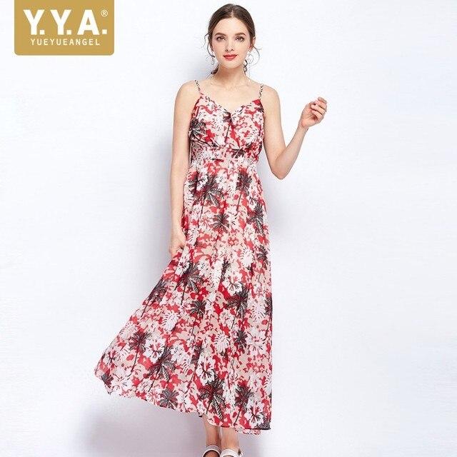 e8ed2b8e3aa99 2019 Summer Boho Floral Printed Long Dress Women Sexy V Neck Elastic High  Waist Hawaiian Beach Straps Backless Maxi Dresses