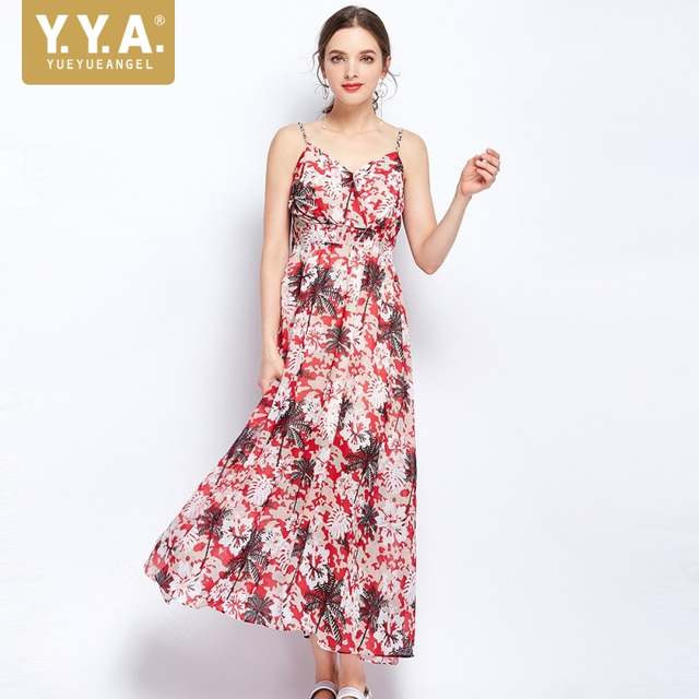 99f4bdae5ae7d 2019 Summer Boho Floral Printed Long Dress Women Sexy V Neck Elastic High  Waist Hawaiian Beach Straps Backless Maxi Dresses