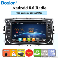 2 din Android 8.0 Quad Core Car DVD Player GPS Navi for Ford Focus Mondeo Galaxy with Audio Radio Stereo Head Unit Free Canbus